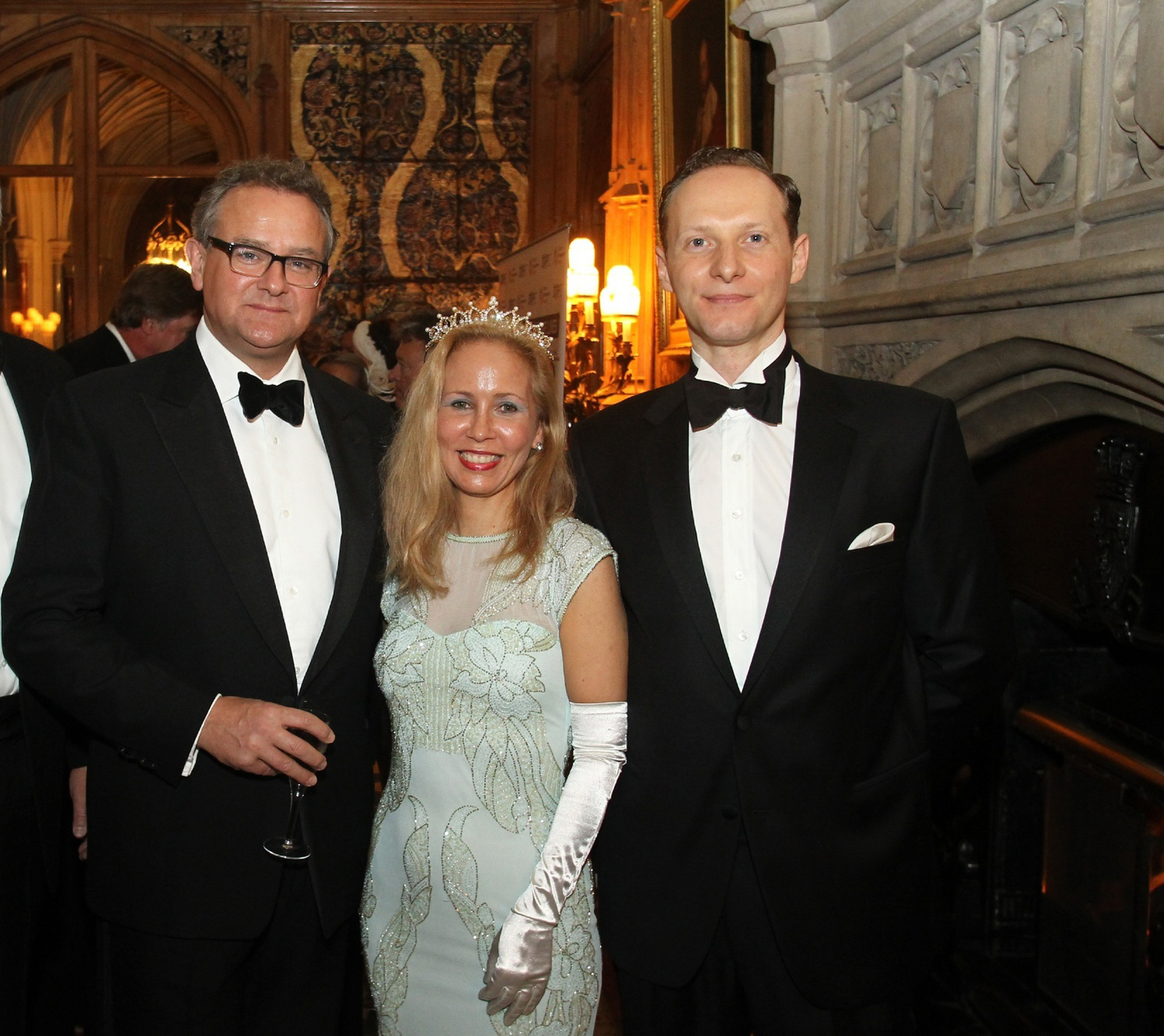 Highclere Castle (Downton Abbey): (L-R) Hugh Bonneville (Lord Grantham), Family Office Review's Steffi Claiden with Morpho Founder Neil Anthony Richmond